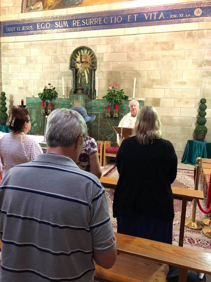 Mass at church above Lazarus' tomb